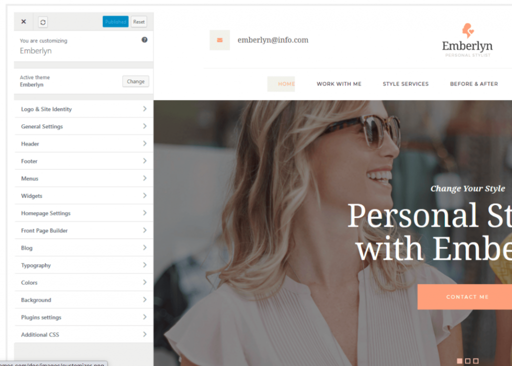 Emberlyn WordPress theme for mompreneurs with physical products and services