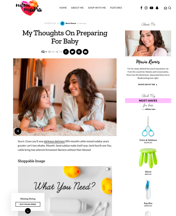 Affiliate WordPress theme for the moms who write recipes, products, and babies