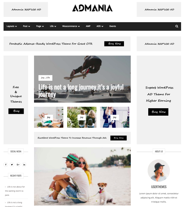 Adsense WordPress theme for the minimalist mom