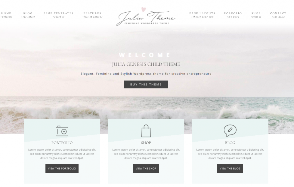 Julia WordPress theme For mompreneurs with arts-related business